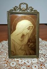 Vintage France Gold Easel Frame with Gold Madonna Picture Painted on Glass