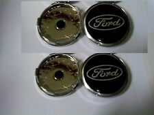 4 x Pcs Ford Dark Blue Chrome Wheel Center Caps Face 60 mm Badge ALLOY GB