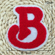 Embroidered Sew on Patch Badge Alphabet B Red Towel Rock Sport Hat Applique DIY