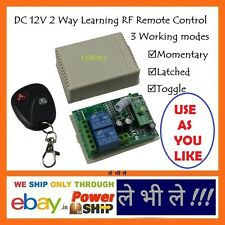E92 Programmable Multiuse DC 12V Volt 2 Ways Channels RF Learning Remote Switch
