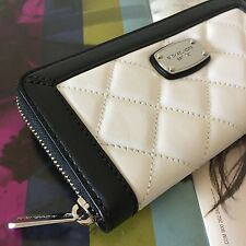 Michael Kors Hamilton Quilt Black White Leather Zip Around Continental Wallet