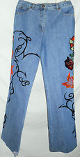 ESCADA Vintage Pants 36 6 Jeans Denim Embroidered Tattoo True Love Sequin Heart