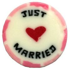 100 x Just Married Pink and white Wedding Rock Sweet Favours