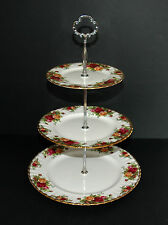 Vintage Royal Albert Old Country Roses 3 Tier Cake Stand w/table protectors
