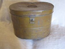 EXTRA LARGE VINTAGE VICTORIAN METAL TIN HAT BOX STORAGE DEED CASE PAINTED