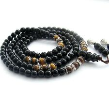 6mm Tiger Eye Gem Black Glass Tibet Buddhist 108 Prayer Beads Mala Necklace