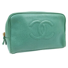 Authentic CHANEL CC Cosmetic Pouch Bag Light Green Caviar Leather Vintage V04585