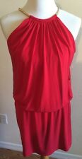 Jessica Simpson Red Salsa Cocktail Dress SZ 6 Sleeveless Gold Collar NWT $118