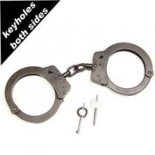 TCH 822B Black Superior XL chained handcuffs with dual key holes