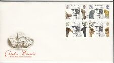 LETTRE FDC ROYAUME UNI SERIE TIMBRE 1023 A 1026 CHARLES DARWIN NATURALISTE 1982