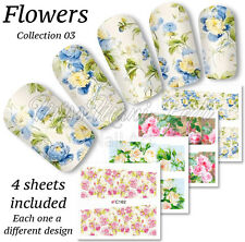 4x Full Cover Nail Art Water Stickers Wraps Transfers Vintage Roses Flowers Z149