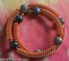 HIPPY BOHO GEMSTONE BRACELET  LABRADORITE BANGLE BOHEMIAN COPPER WIRE WRAP 7SE13