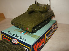 Vintage rare dinky toys 690 scorpion tank in original dinky blister & coquillages