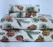 *FULL SIZED*  NORTHCREST FLANNEL SHEET SET CREAM/PINE CONE LODGE CABIN NATURE