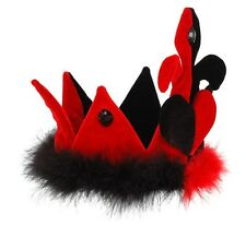 Alice In Wonderland QUEEN OF HEARTS CROWN COSTUME HAT Red Plush Feather Black