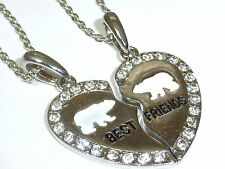 NEW BEST FRIEND Polar Bear Heart Silver Tone 2 Pendants Necklace BFF Friendship