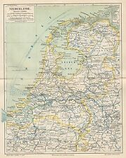 B6063 Netherlands - Carta geografica antica del 1890 - Old map