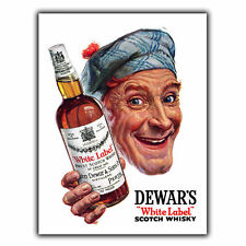 Dewar's White Label Whiskey Vintage Retro Advert A5 METAL WALL SIGN KITCHEN