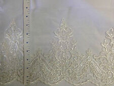 Alencon Bridal Mesh Lace Trim, Corded and Sequined, EXCELLENT QUALITY, 9""