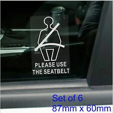6 x Please Use The Seat Belt Stickers-Safety Signs-Taxi,Car,Minibus,Mini Cab-IFO