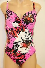New Swim Solutions Swimsuit 1 one piece Size 16 Paint Your Garden Pink