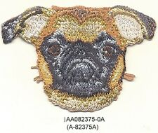 "2"" x 3"" Tan Brussels Griffon Dog Breed Portrait Embroidery Patch Applique"