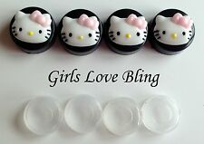 HELLO KITTY PINK BOW License Plate Frame Screw Covers - Black Caps