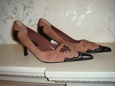Steve Madden Steven Pink Suede Black Leather Shoes Heart Cut-Outs US Size 7M