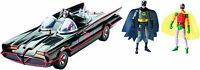 "1966 BATMAN CLASSIC TV SERIES BATMOBILE SET W/6"" ADAM WEST BURT WARD FIGURES MIB"