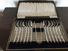 BEAUTIFUL SET OF 12 SILVER PLATED VICTORIAN  TEASPOONS & TONGS ( SPTS & T 439)