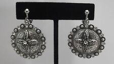 CLIP ON-Silver clip on earrings w/dangling round texture piece & cross.