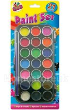 21 WATER PAINT COLOURS & BRUSH SET PALETTE BOX KIDS PAINTING CARD ART CRAFT 5104