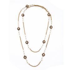 NEW * J CREW Double Loop Swirl Pearl Rustic Copper Necklace