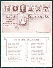 Trento Riva del Garda Lega Nazionale 1908 Moro Doppia Fori cartolina QT4223