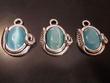 3 Colgantes Medianos Zamak con Ojo de gato, abalorios,pendant,pendentif,anhänger