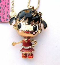 Betsey Johnson flare crystal/enamel Cartoon little girl pendant Necklace#312L
