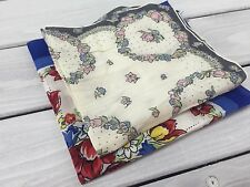 Vintage Handkerchief Hanky Lot Blue Red Floral Gray Pink Vines Cotton Stunning