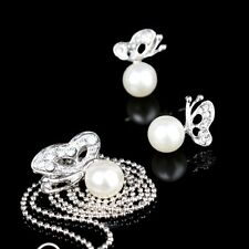 High Quality Butterfly Imitated Pearl Earrings And Necklace Jewelry Set