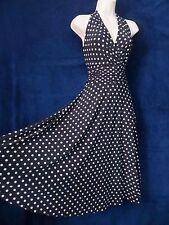 Chaps Sexy Rockabilly Black Beige Polka Dot Halter Swing Holiday Party Dress XL