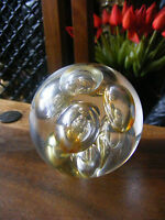 Vintage Style Langham Glass House Art Glass Paperweight with Bubble