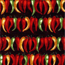 By 1/2 Yard Chili Peppers in Ranch ~ Michael Miller Fabric ~ Hot Pepper Kitchen