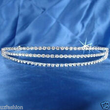 3 ROW AUSTRIAN SILVER RHINESTONES DIAMANTE HEADBAND TIARA NEXT DAY DISPATCH
