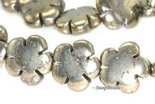 20MM PALAZZO IRON PYRITE GEMSTONE DAISY FLORA FLOWER 20MM LOOSE BEADS 7.5""