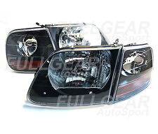 BLACK CLEAR SVT. STYLE HEADLIGHTS & CORNER LIGHTS SET FOR FORD F-150 1997.8-2003