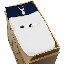 Sweet Jojo Mint Navy Blue White Deer Changing Table Pad Cover Crib Baby Bedding