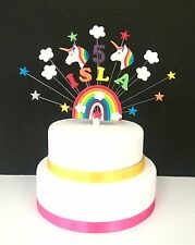 Any Name and age Rainbow, Star and UNICORN  Birthday or Christening  Cake Topper