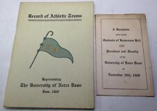 RARE 1908 University of Notre Dame SPORTS Records Booklet FOOTBALL, Baseball &