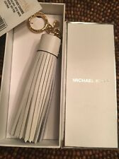 NIB Michael Kors Leather Tassel Charm Key Fob Ring for Purse Optic White Gold