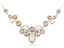 Elegant Golden Tone Pink Gray and Topaz Circles Spring Fun Adj Fashion Necklace