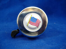 AMERICAN FLAG CHROME BICYCLE BELL RINGER KIDS BIKE